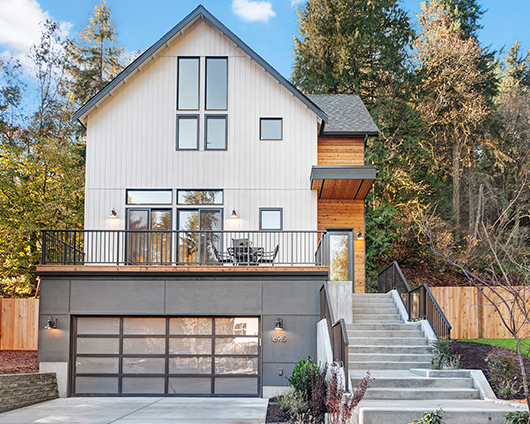 New construction home with a gabled roof