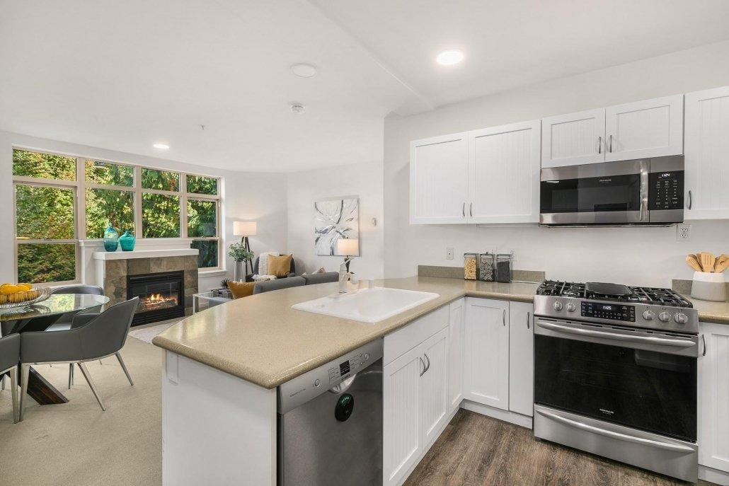 interior photo kitchen and living