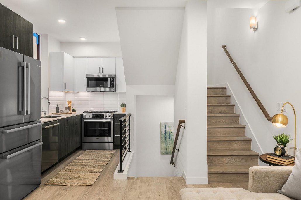interior photo of kitchen and stairs