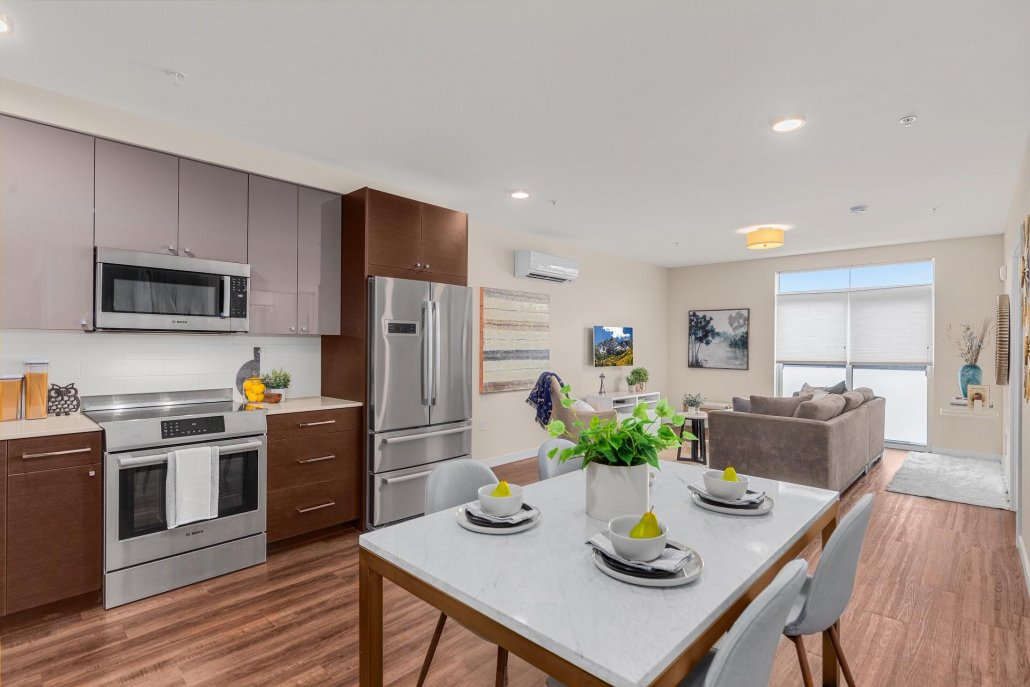 interior photo of living kitchen and dining