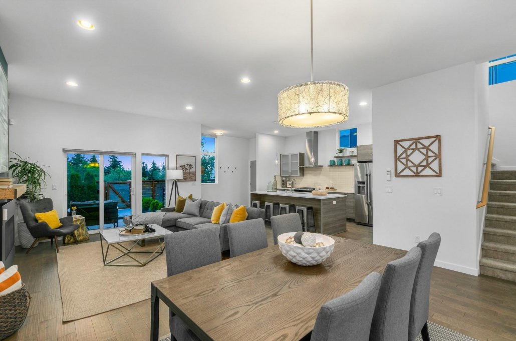 interior photo of kitchen living and dining area