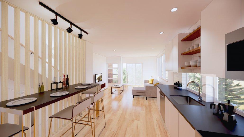 interior photo living kitchen dining